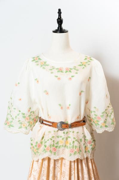 Flower Embroidery Sheer Blouse