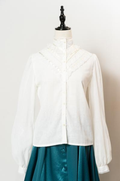 70~80's GUNNIES Lace Neck Blouse
