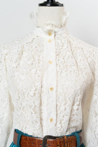 Off White All Lace Frill Blouse