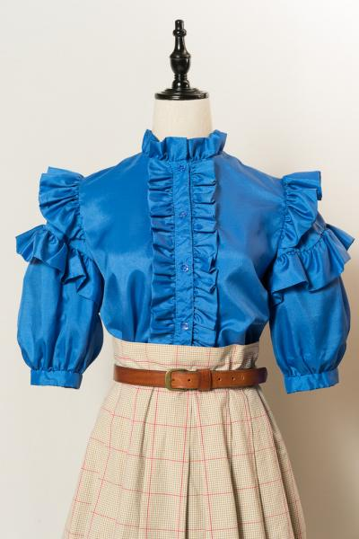 Frill Tiered Sleeve Blue Blouse