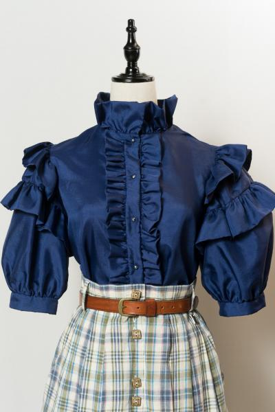 Frill Tiered Sleeve Navy Blouse