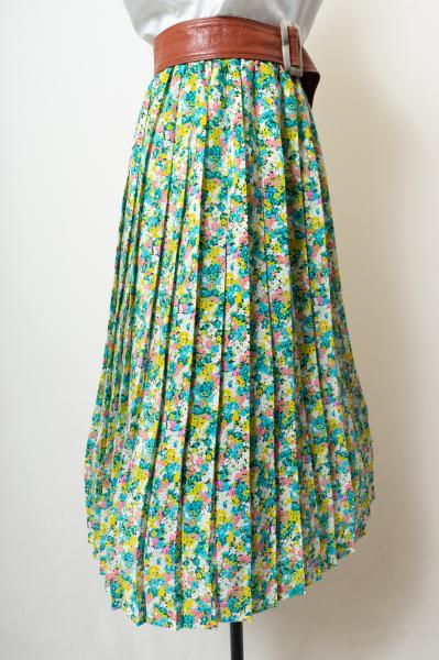 Made In France Colorful Flower Pleats Skirt