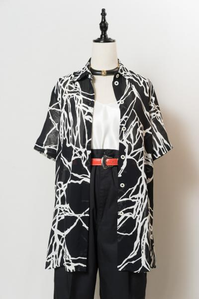 C&A Made In Euro Art Pattern Sheer Blouse