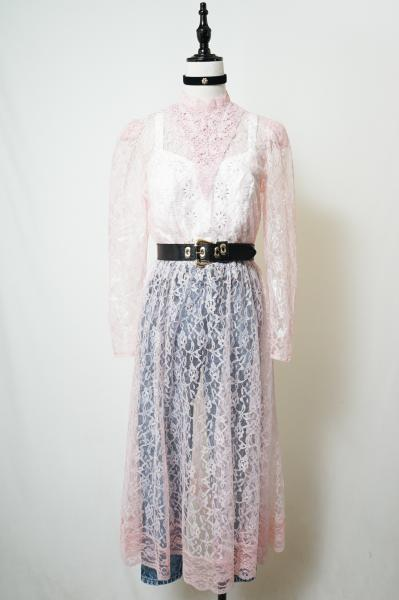 Crochet×Tulle Lace Maxi Dress