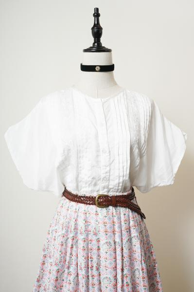 Dot Embroidery Pleats Design White Blouse