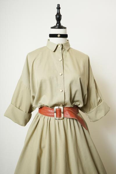 Beige American Shirt Dress