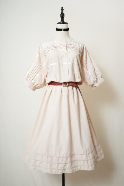 Made In Euro Botanical Embroidery Pink beige Dress