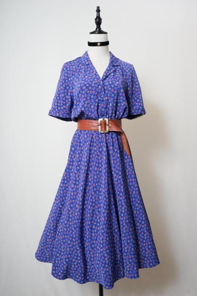 Small Flower Pattern Roll-up Blue Dress