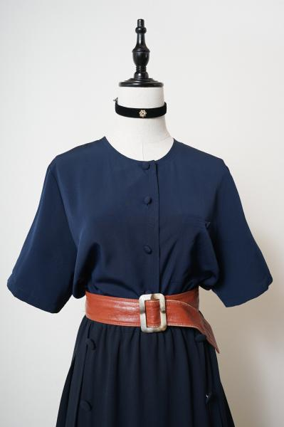 Made In Euro Simple Navy Blouse