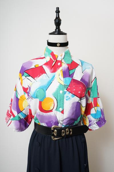 Made In Euro Colorful Art Pattern Short Blouse