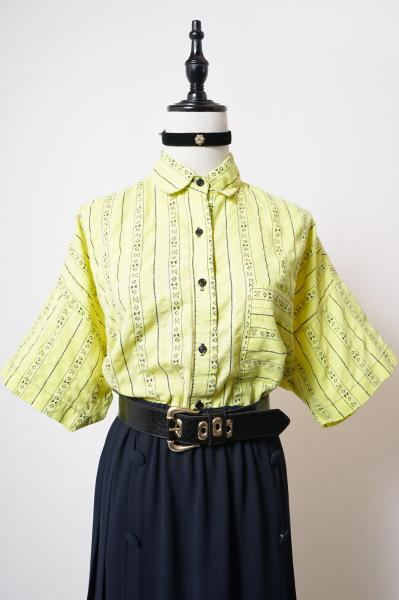 Native Stripe Pattern Lemon color Blouse