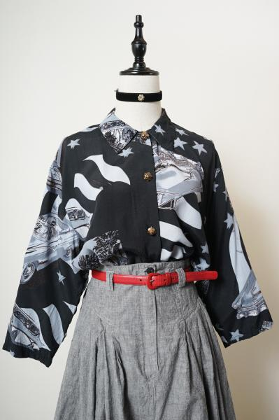 Made In New Zealand Drive Motif Print Over Blouse