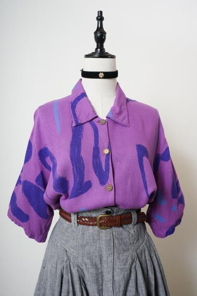 Art Pattern Purple Over Blouse