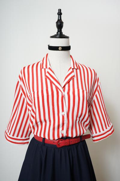 Made In France Red×White Stripe Blouse