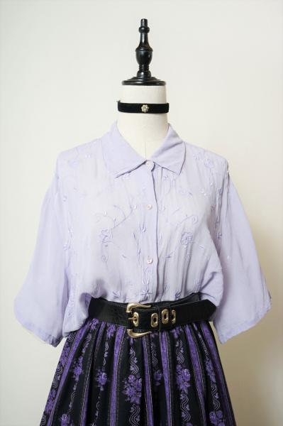 Made In Euro Flower×Lavender Sheer Blouse