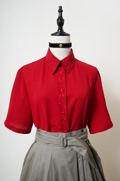 Made In Euro Embroidery Red Blouse