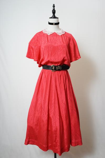 Lace collar Red Design Dress