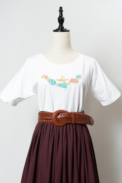 Shell Motif Embroidery White T-sh