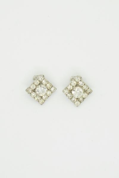 60's Clear stone Square Earrings