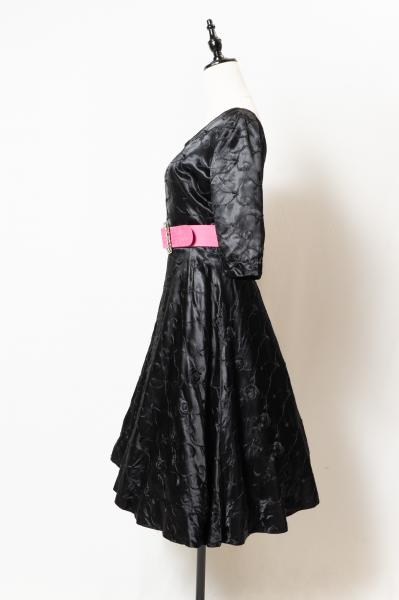 50's Rose Embroidery Black Dress