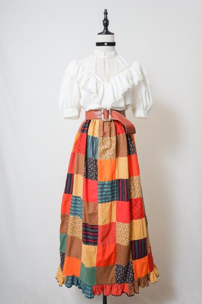 Multi Pattern Patchwork Colorful Maxi Skirt