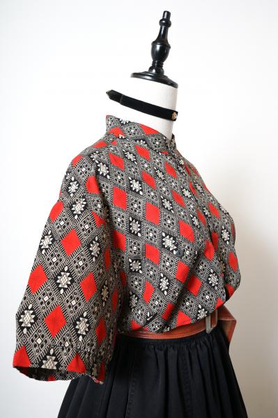 Ancient Times Motif Black×Red Blouse