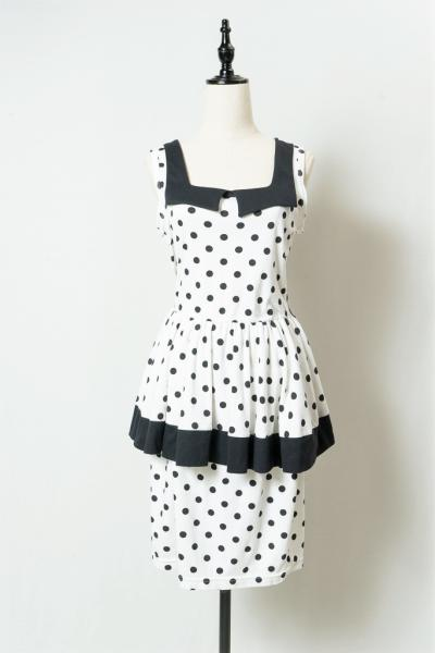Monotone Dot Pattern Peplum Dress
