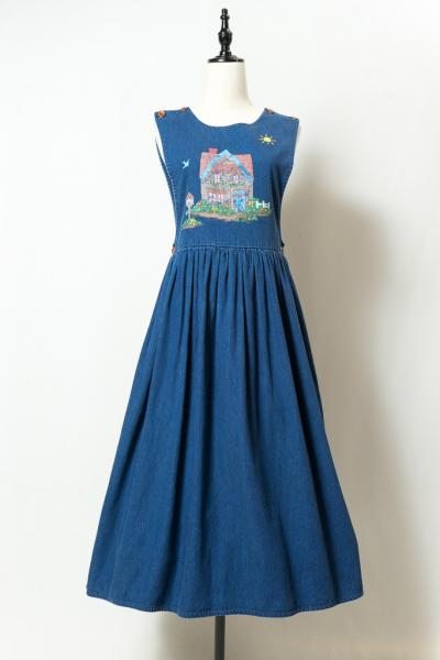 House Peinting Print Denim Over Dress