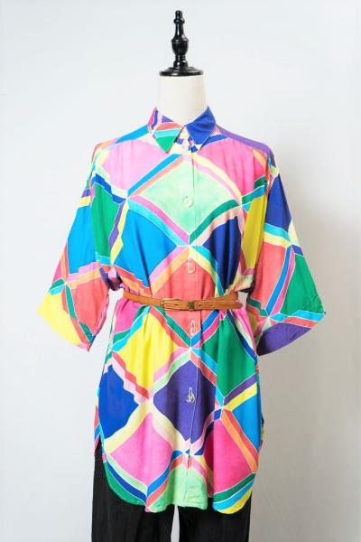 Made In Euro Colorful Tile Blouse
