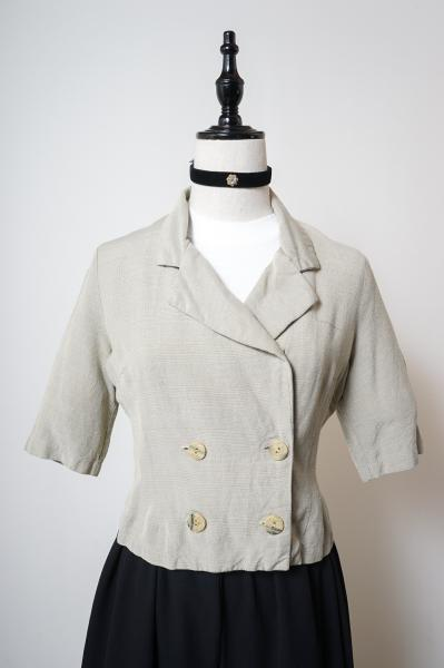 Double Button Check Beige Jacket