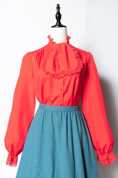 Lace Frill Design Red Blouse