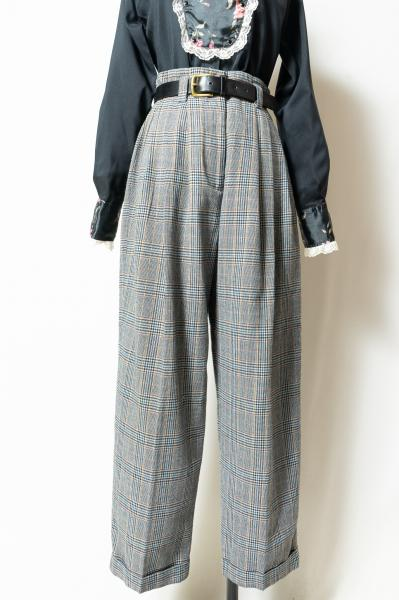Gray Check Tuck Pants