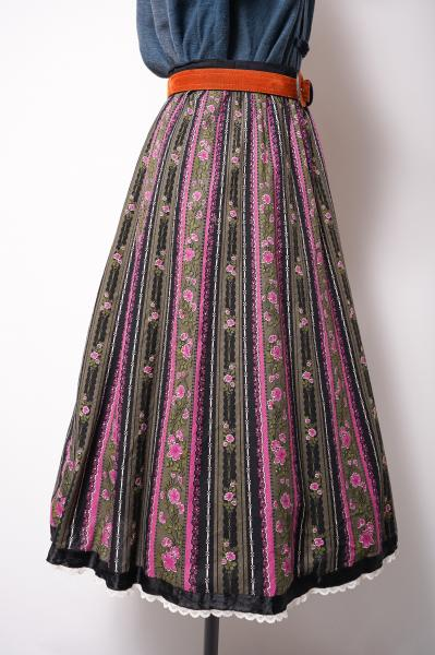 Made In Euro Berry pink Flower Tyrol Skirt