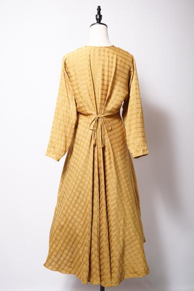 Glossy Check Sand yellow Long Dress
