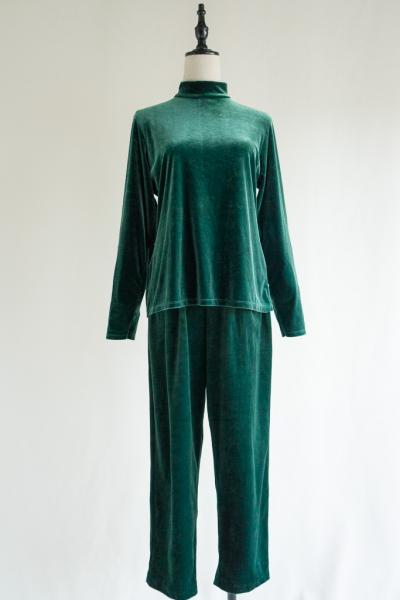 Green Velour Tops×Pants Set up