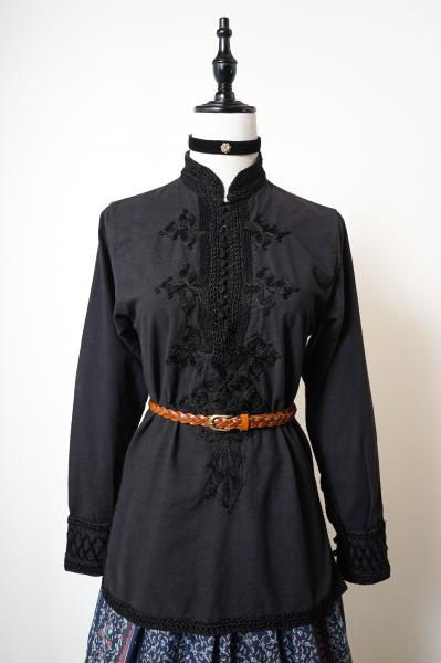 Made In Euro Embroidery Design Folklore Black Tops