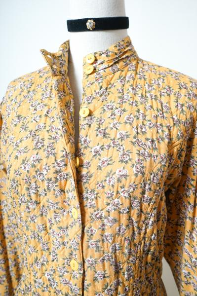 Flower Pattern Quilting Yellow Dress