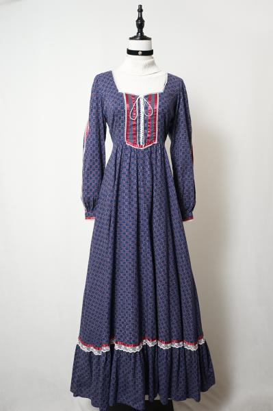 70's GUNNE SAX Small Flower Tile Navy Maxi Dress