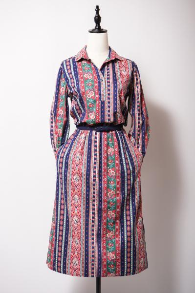 Retro Multi Stripe Pattern Open Collar Dress