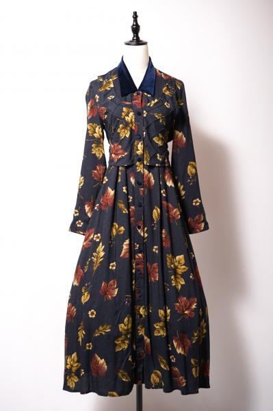 Leaf Pattern Layered Style Navy Dress