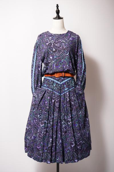 Purple Paisley Pattern Pleats Dress