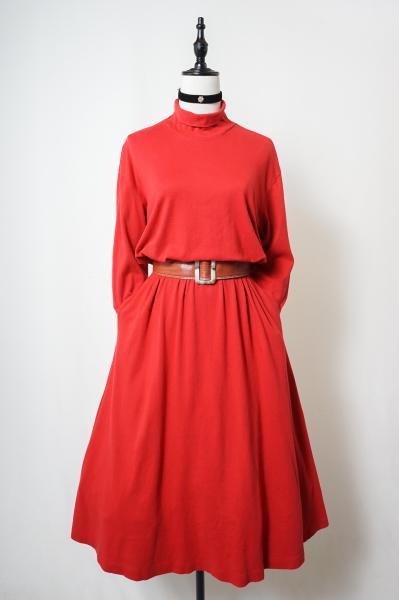Red High neck Sweat Long Dress