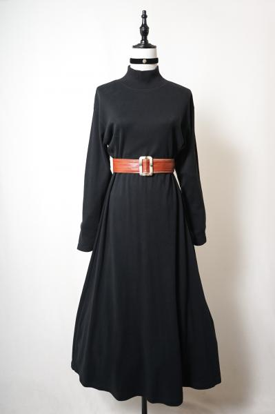 Black High neck Sweat Long Dress