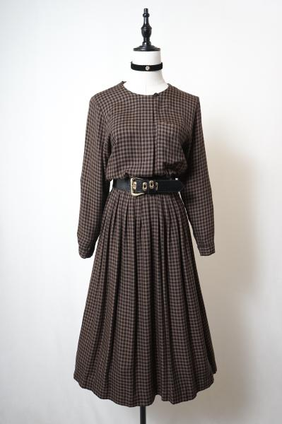 Brown×Black Gingham check Dress