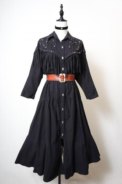 Studs×Fringe Design Black Long Dress
