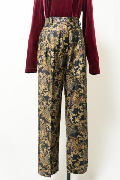 Botanical Pattern Black Pants