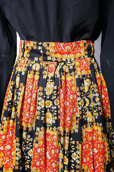 60〜70's Retro Flower Scarf Pattern Maxi Skirt