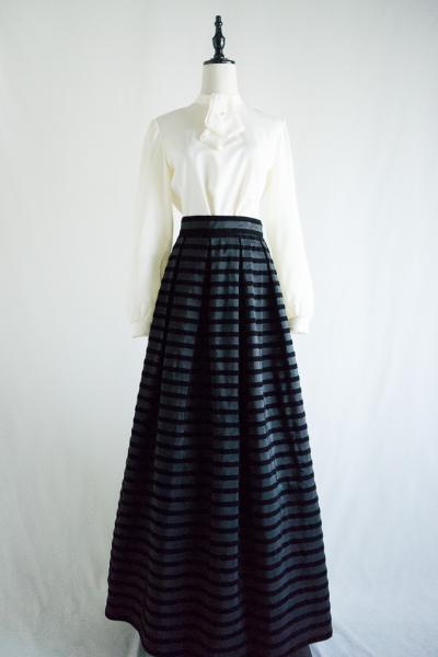 70's Border Maxi Black Skirt