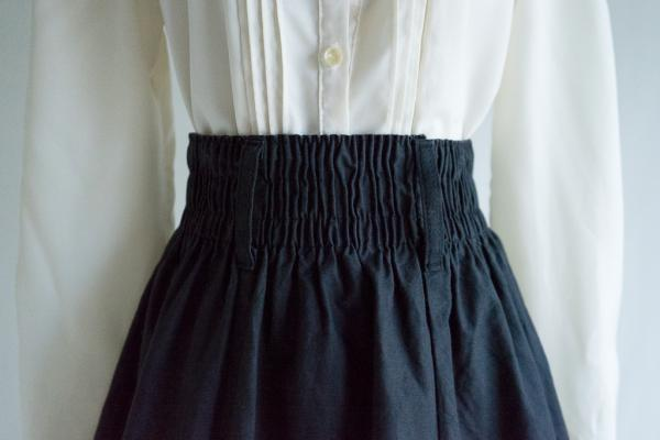 Black Cotton Flare Skirt