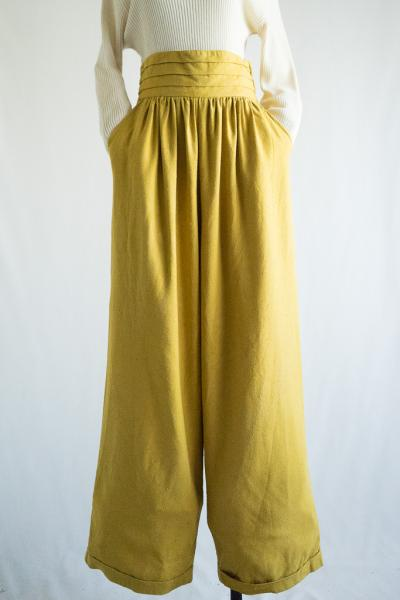 Mustard yellow Silk Wide Pants